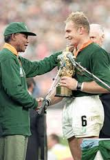 Madiba and Francois Pienaar, Springbok captain, RWC 1995