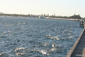 Ironman Busselton competitors during the 3.8km swim around the jetty