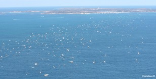 Swimmers and support boats and paddlers in the Rottnest Channel Swim