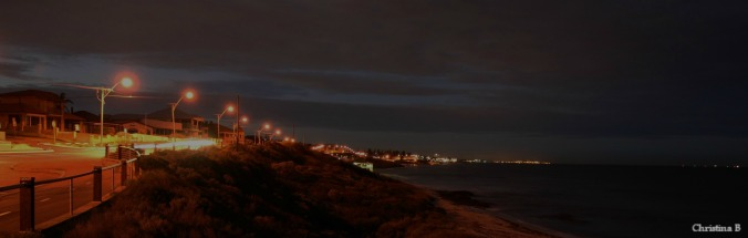 My favourite walking path on a cold dark morning with view towards Fremantle harbour