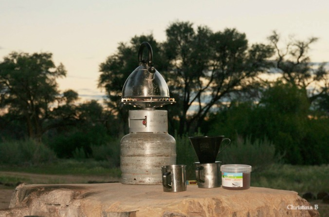 Camp coffee being made at Brandberg bush camp, Namibia