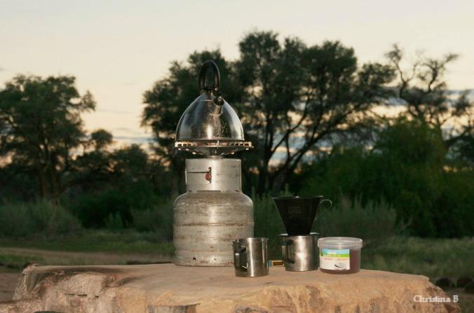 Camp coffee being made at Brandberg bush camp, Namibia