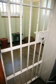 Nelson Mandela's old cell at Robben Island prison, Cape Town, South Africa
