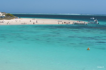 View of Coral Bay, northwest Australia, with its turquoise waters