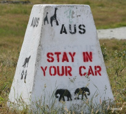 Imperative to follow these instructions at Aus in Etosha National Park, Namibia.