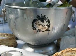 Cool crisp wine at a picnic at Boschendal wine farm (est. 1685) near Cape Town in South Africa.