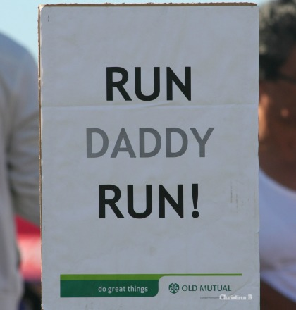Someone else had this sign up as encouragement for their dad at the finish line of the Two Oceans Marathon in Cape Town, South Africa. Taken while we were waiting for my husband to finish his 18th Two Oceans marathon.