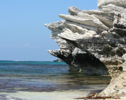 Weathered and washed away rocks near Parakeet Bay, Rottnest Island near Perth