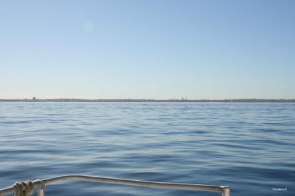 View towards the mainland from the ferry. Perth city is visible towards the right