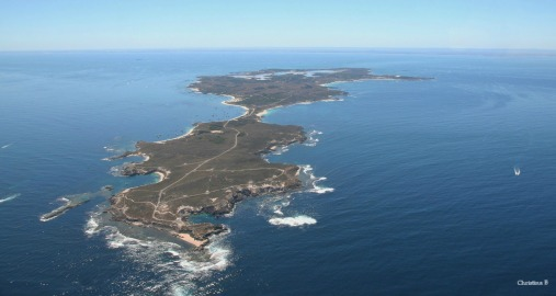 Rottnest Island taken from the west. The mainland can be seen in the background.