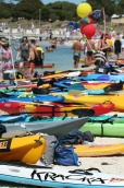 Lots of support kayaks at the finish line.