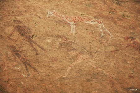 "2000 year old Bushmen rock painting called ""White Lady"" at Brandberg, Namibia"