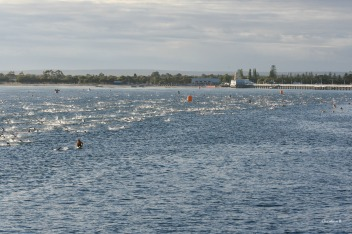 Swim leg of Ironman WA (swimming around the Busselton jetty)