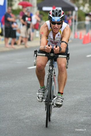 On the bike at Ironman WA