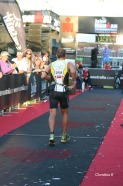 In the finishing chute at Ironman WA