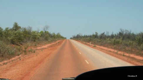 The road north of Broome (not a great photo as it was taken out of a moving bus) showing the red discolouring of the road where vehicles have travelled after driving on the red sand