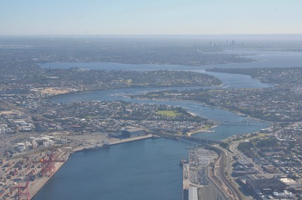 Swan River with Perth in the background to the right