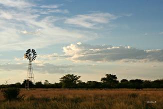 Windmill at sunset in the Kalahari