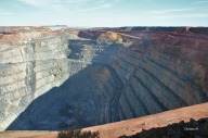 A section of the Superpit at Kalgoorlie (note the trucks driving along which are actually massive)