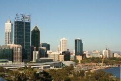 View of Perth in 2012. The BHP Billiton building on the left had newly been built and development of Elizabeth Quay, in the foreground, had commenced