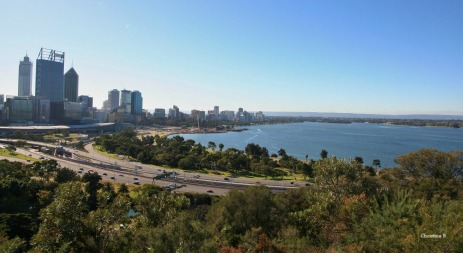 View of Perth, the Swan river and Perth hills from Kings Park