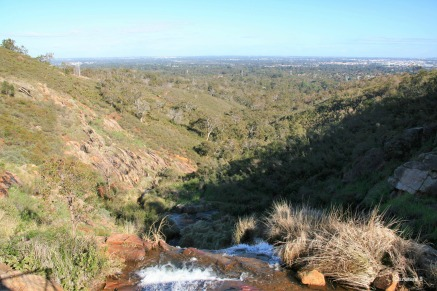 The top of Lesmurdie Falls with view towards the coast